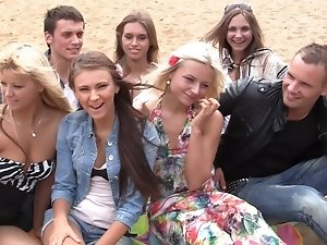 Autumn & Grace & Bianca & Olie & Savannah in outdoor orgy movie with hot student chicks